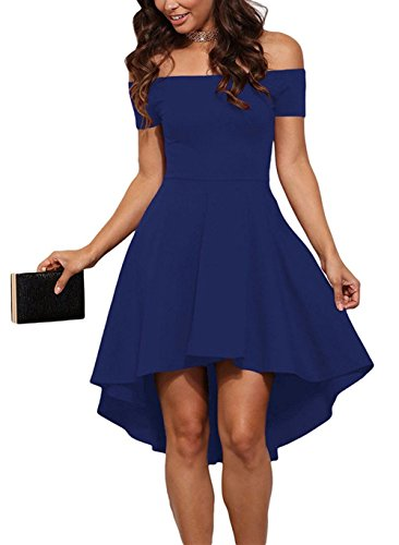 ZJCTUO Damen Kleid Abendkleid Schulterfreies Cocktailkleid Jerseykleid Skaterkleid Knielang Elegant Festlich Asymmetrisches Partykleid- Gr. 40 (L), Blau (Blaues Kleid Für Frauen Hochzeit)