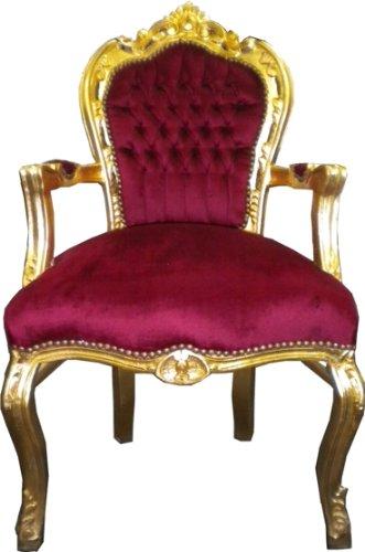 Barock Esszimmer Stuhl mit Armlehnen Bordeaux-Rot/Gold Ludwig XIV Stuhl Wohnung Wohnen Rokoko...