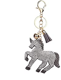 One Size , Grey + White : Bismarckbeer Fashion Unicorn Key Chain Alloy Rhinestone Bag Car Key Pendant Keyring...