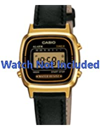Casio correa de reloj LA670WEGL-1EF / LA670WEGL-1 Piel Negro 13mm(Sólo