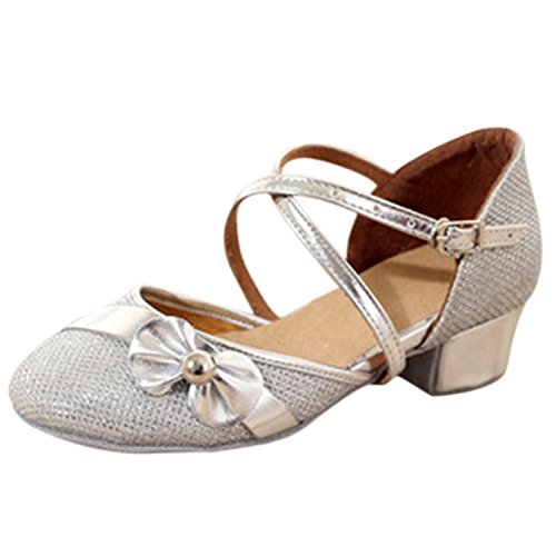 Oasap Girl's Round Toe Bow Low Heels Latin Mary Jane Shoes silver