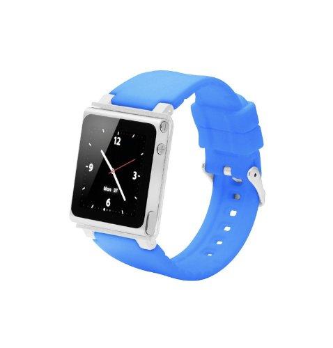 ZSTX Breit einstellbares Sport Uhrenarmband für Ipod Nano 6.Generation,Aluminiumgehäuse,Silikongürtel,Ipod Nano 6th Watch Band,Handschlaufe für iPod Nano 6G(OEM)(Blau)
