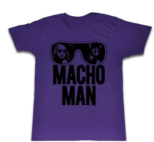 WWE World Wrestling Entertainment Old School Macho Man Glasses Erwachsene Heather Purple T-Shirt (Large)