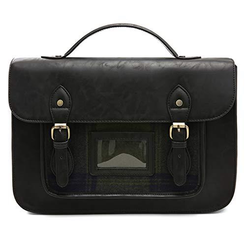 PU Leder Handtasche 13 '' Laptop Messenger Bags Kunstleder Aktentasche Umhängetasche Black Max Length 30-50cm (Laptop-computer Unter Dollar 50)
