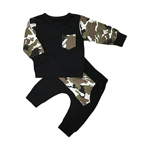 Baby Kapuzenpullover Outfit Hirolan Pullover Sweatjacke Neugeboren Junge Tasche Lange Hülse T-Shirt Tops Tarnung Hose Kinder Baby Outfits Kleider Set (90cm, Schwarz) (Headwrap Camouflage)