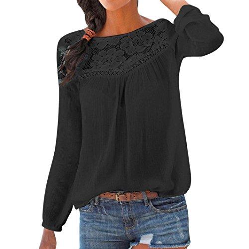 Damen Langarm-Shirt, Frashing Damen Langarm Spitzenoberteil Damen Shirt Rundhals Lose Bluse Langarmshirts Hemd Langärmliges Hemd aus Baumwolle und Leinen
