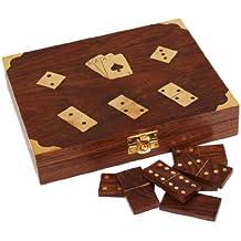 regali di Natale del Ringraziamento in legno scatola del gioco - giocando a cartes titolare scatola Double Deck e di domino Set 28 piastrelle fatte a mano con raffinata ottone intarsio