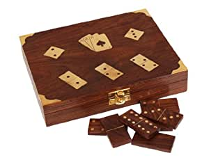 Store Indya, Rosewood Dominoes Game Set con Carte da gioco & Dice Holder