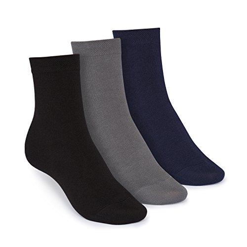 ThokkThokk Socken Mittelhoch Schwarz Grau Blau 3er Pack Bio, Größe:L 43-47
