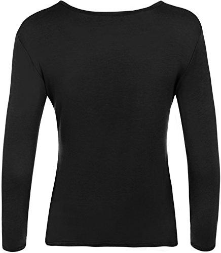 WearAll - Haut simple à manches longues avec un col rond - Hauts - Femmes - Grandes tailles 44 à 48 Noir