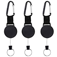 FOGAWA 3Pcs Retractable Key Chains Heavy Duty Retractable Keyring Badge Reel Clips Key Reel Recoil Pull Card Key Holders with 63cm Steel Wire Rope for Keys ID Card Holder Black