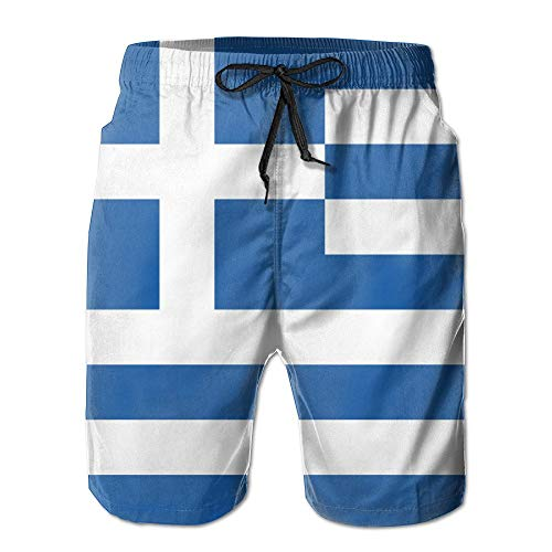 Men's Summer Beach Pant Flag of Greece Surfing Board Pants Shorts Large Aftco Hat