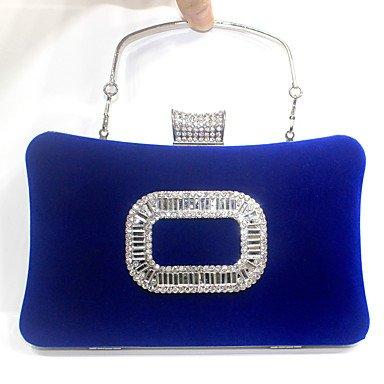 pwne Frauen Samt Formale/Event/Party/Hochzeit Abend Tasche/Velvet Diamanten Tasche / Geldbeutel/Kupplung/Quadratische Schnalle Blue