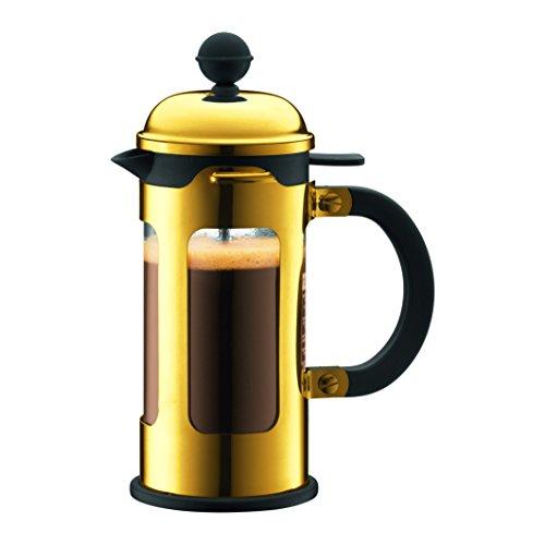 Bodum New Chambord Kaffeebereiter 3 Tassen, Chrom, Gold, cm, 8 x 14 x 19 cm, 1 Einheiten