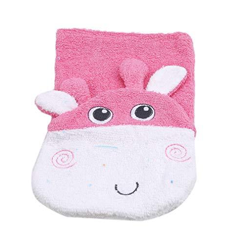 SUNSKYOO Tierbadhandschuhe Cartoon Elephant Monkey Deer Waschhandschuh Seifenwäsche Reinigungsbadeschwamm, Pink Deer