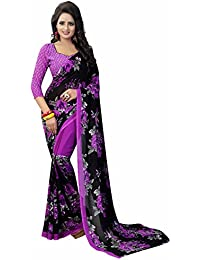 Ishin Women's Faux Georgette Saree With Blouse Piece (Swaya-Flowerviolet_Black & Purple)