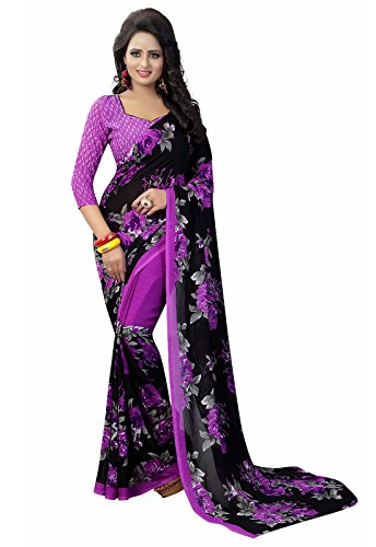 Ishin Faux Georgette Black & Purple Printed Party Wear Wedding Wear Casual Wear Festive Wear Bollywood New Collection Latest Design Trendy Women's Saree/Sari  available at amazon for Rs.399
