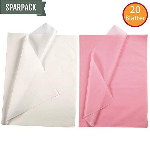 YooKreativ SPARPACK ❗ Seidenpapier Set, Weiß und Pink, Blatt 50x70 cm. 20 Blätter, Transparentes Seidenpapier zum Basteln und zur Dekoration, Seidenpapier Weiß, Seidenpapier Pink, Seidenpapier Rosa