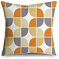 fabricmcc Mid-Century Grigio Giallo Arancione Connect Box Retro Pattern Square accento decorativo Throw Pillow Cover cuscino 18 X 18