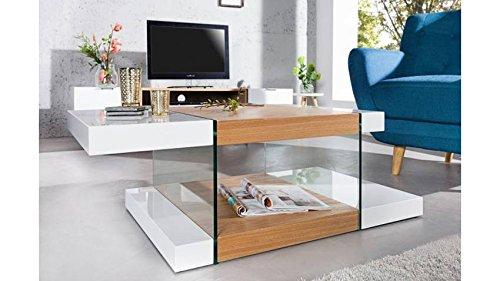 mobilier nitro Table Basse en Verre et chêne Blanc Hedvig