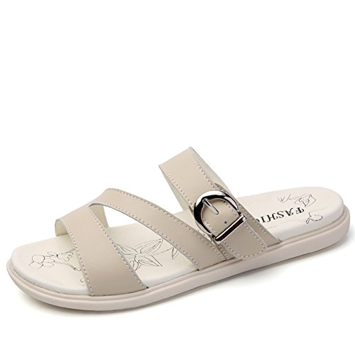 Pantoufles Plates En Cuir D'été/Femmes Mode D'été Usure Des Sandales B