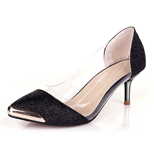 Wealsex damen Pumps spitze high heels Schwarz