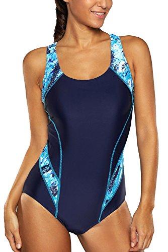 teiler Figuroptimizer Racerback Sport Badeanzug Elegance Blau S (Damen Badeanzug)