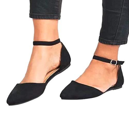 Alaso Sandale Plates pour Femmes,Retro Bout Pointu Bride à la Cheville Sandale Pas Cher Espadrilles Décontracté Chaussures Femme