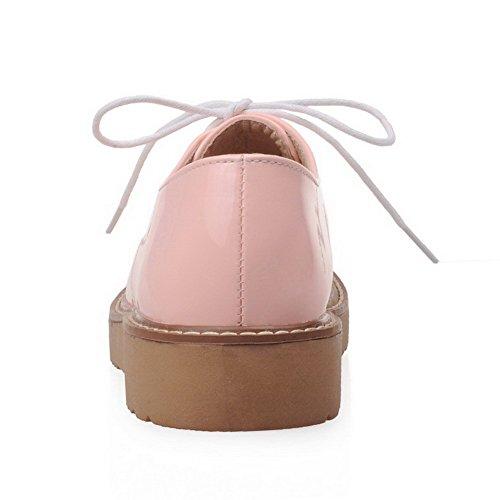 VogueZone009 Donna Pelle di Maiale Punta Tonda Tacco Basso Allacciare Puro Ballet-Flats Rosa