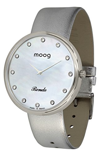 Moog Paris Ronde Vogue Women's Watch with White Mother of Pearl Dial, Silver Genuine Leather Strap & Swarovski Elements - M41671-A11