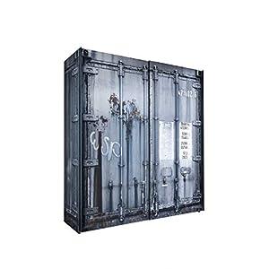 Kleiderschrank Josh Container-Optik 2 Türen B 170 cm H 195 cm grau Kinder Jugend Schlafzimmer Wäsche Schwebetüren Schiebetürenschrank