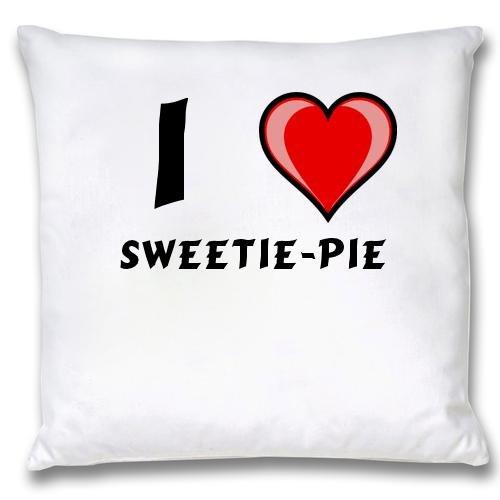 Weißer Kopfkissenbezug mit Ich liebe Sweetie-pie (Vorname/Zuname/Spitzname) Sweetie Pie Satin