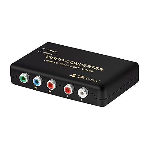 Portta HDMI to YPbPr Component RGB + R/L Converter v1.3 Scaler support R/L Audio output