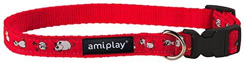 amiplay Regulierbares Hundehalsband 'Wink' mit Motiven | maximaler Tragekomfort | Qualitativ hochwertig und stabil | verschiedene Muster & Größen , Farbe:Rot, Größe:M | 25-40 [b] x 1.5 cm