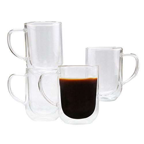 ComSaf Thermal Insulation Glass Cup with Handle for Cup Medium Size Glass 4 Pack, Beer Mugs Double Wall Cups for Coffee Cups with Handle for Espresso Latte Cappuccino