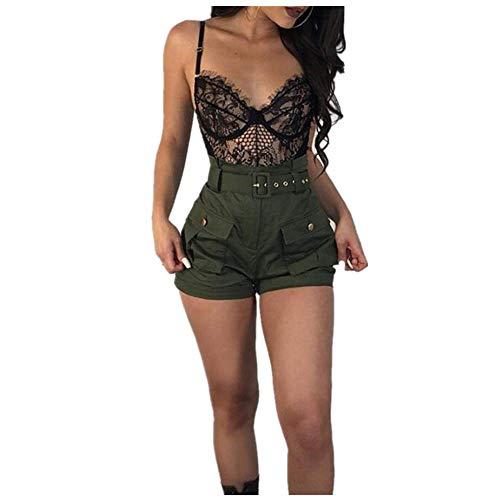 ZHOUJINGTIAN Pantaloncini da Donna Pantaloni Casual da Donna A-Line Pantaloni a Vita Alta Estate Verde Pantaloncini Pantaloni da Donna alla Moda Pantaloni da Spiaggia Allentati Pantaloni Corti A1 S