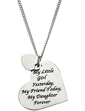 Hacool 925 Sterling Silber hoch poliert Herzform Halskette beste Familie Geschenke