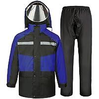 HUIYUAN - Chubasquero reutilizable para hombres y mujeres, impermeable y resistente al viento, con capucha, color negro y azul, Tejido Oxford, Large