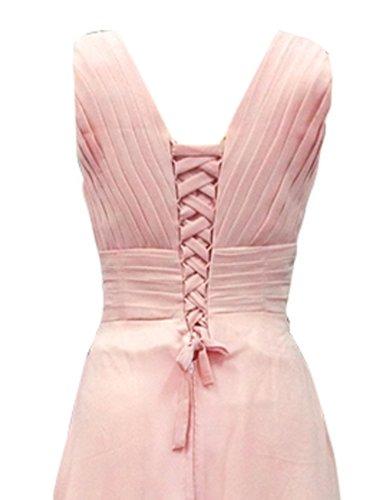 Dresstells Damenmode Chiffon Lang Brautjungfernkleider Abendkleider Sommerkleid Mit Trägern Rosa