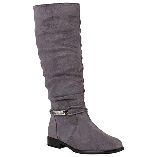 Gefütterte Damen Stiefel Klassische Langschaft Boots Schuhe 149806 Grau Zierperlen 39 Flandell