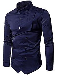 Amlaiworld Mens 2018 Nuovo slim fit elegante camicia partito vestito (L, navy blu)