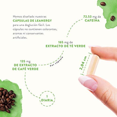 41LSrY 13DL - Leanergy - Quemagrasas Natural en Cápsulas con Extracto de Té Verde, Guaraná, Garcinia Cambogia - Pérdida de Peso y Metabolismo Graso - 90% de Polifenoles - Compuestos Naturales - 100% Vegano