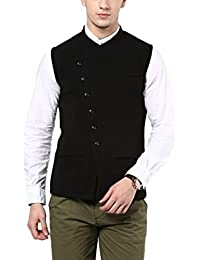 Hypernation Black Color Cotton Casual Waistcoat