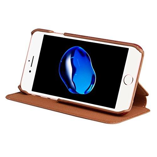 iPhone Case Cover Pour iPhone 7 Ultra-mince Texture en bois Horizontal Flip PU Housse de protection en cuir avec support ( Color : Coffee ) Red