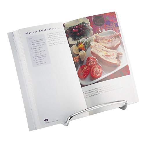 mDesign Kochbuchhalter für die Arbeitsfläche – auch als Tellerständer oder zum Aufstellen von Bildern nutzbar– eleganter Kochbuchständer - Farbe: Silber