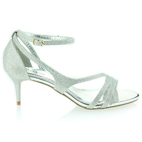 Frau Damen Offener Zeh Fesselriemen Dünn Mittlere Ferse Abend Party Hochzeit Abschlussball Sandalen Schuhe Größe Silber