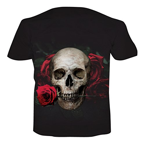 NEWISTAR Unisex 3D Druckten Sommer-Beiläufige Kurze Hülsen-T-Shirts T-Stücke skull-rose