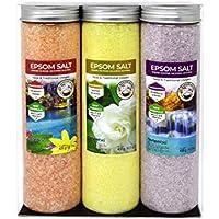 Nortembio Sales de Epsom Pack 3 x 430 g. Fragancias de Canela, Jazmín, Rosas. Hidratadas con Vitamina C y E. Sales de Baño, Aromaterapia, Terapias de Flotación.