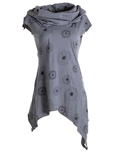 Vishes - Alternative Bekleidung - Bedrucktes Kleid aus Baumwolle mit Kragenkapuze grau 40 - Grau Pixie