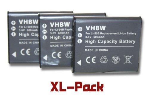 3 x vhbw Batería Set 600mAh para cámara Ricoh WG-5 GPS y Otros